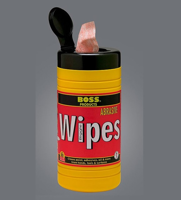BOSS 983 Biggie Wipes handy to clean up caulking from hands or tools