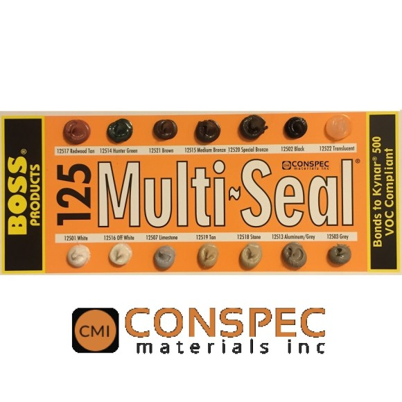 Boss 125 Multi-Seal Color Chart Sealant Building Construction Roofing Bonds to Kynar 500 Conspec Materials
