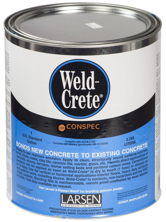 Weld Crete bonding agent Larsen Products concrete brick cement tile glass stone ceramic 1gal