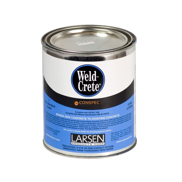 larsen products weld crete bonding agent concrete brick cement tile glass stone ceramic quart