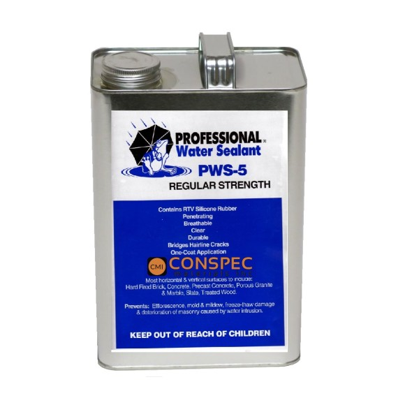 Professional® Water Sealant PWS-5 REGULAR Strength Spray on waterproofing brick block sealer 1-Gallon