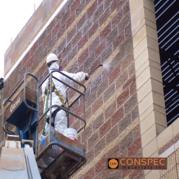 Professional Water Sealant PWS-15 Roosevelt High School application Split Faced Block Waterproofing CONSPEC