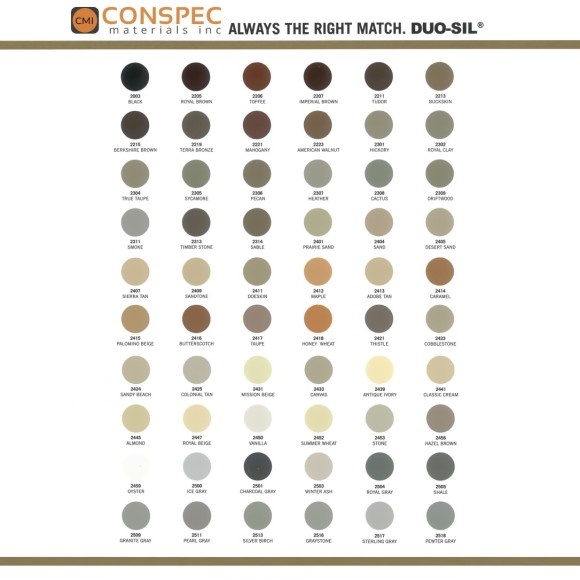 SiroFlex Duo-Sil 140 Optional Color Chart Page 1