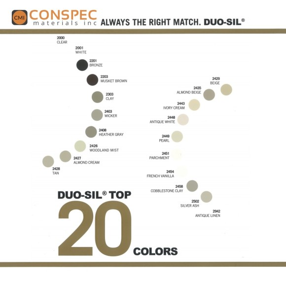 SiroFlex Duo-Sil Color Chart Top 20