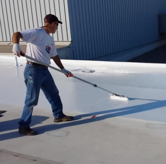 SmartRoof Silicone Cool Roof Coating Application paint roller method