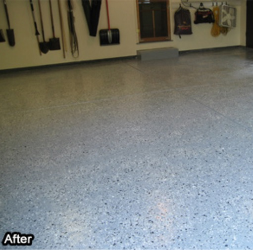 Abatron Vinyl Chips finished on Garage Floors