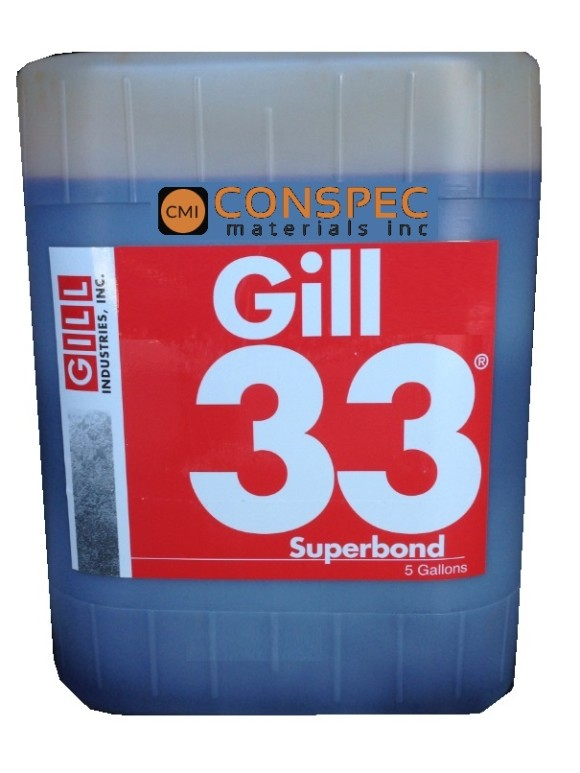 Gill 33 Superbond Liquid Admix for Portland Waterproofing Rapid Cure Cement Concrete Hardener Densifier 5 Gallon Jug