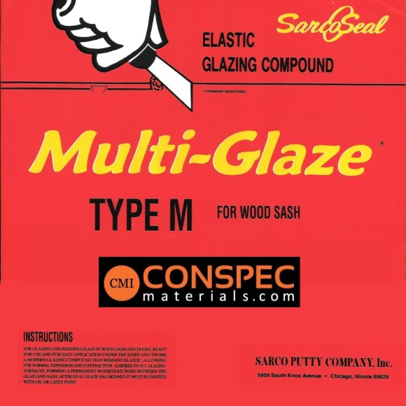 Sarco Multi-Glaze Type M Putty 1-Gal Label Conspec Materials