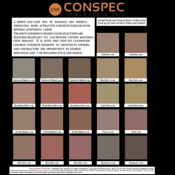 Colored Concrete Cement Mortar Color Chart