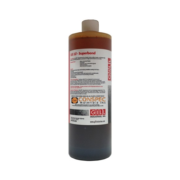 Gill 33 Superbond Liquid Admix for Portland Cement Concrete rapid curehardener densifier waterproofer 1 QUART Bottle