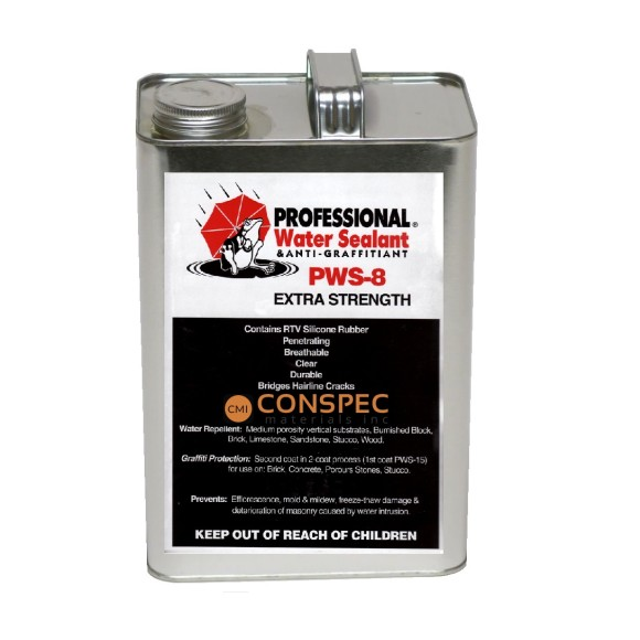 Professional® Water Sealant PWS-8 EXTRA Strength Spray on waterproofing brick block sealer 1-Gallon