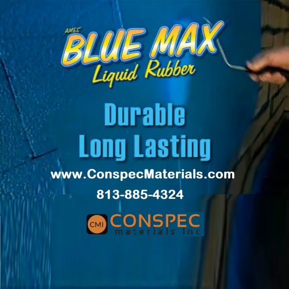 AMES Blue Max Liquid Rubber Waterproofing Concrete Foundation Under Tile Shower Deck Roof Basement Leak repair Conspec Tampa applied Long Lasting