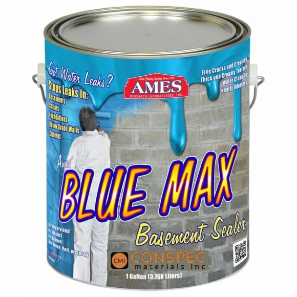 AMES Blue Max Liquid Rubber Waterproofing Foudation Under Tile Shower Deck Roof Basement Leak repair Conspec Tampa 1-Gal