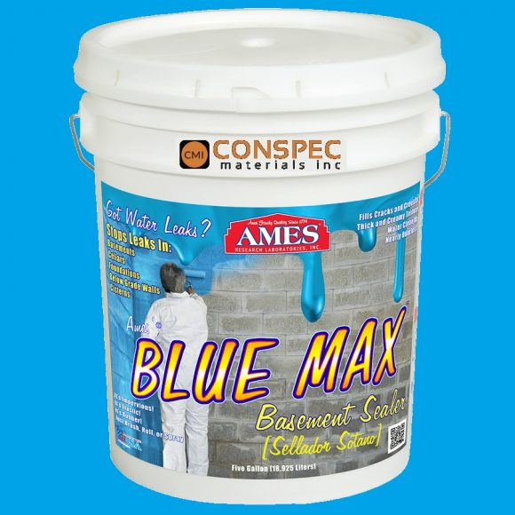 AMES Blue Max Liquid Rubber Waterproofing Foudation Under Tile Shower Deck Roof Basement Leak repair Conspec Tampa 5-Gal