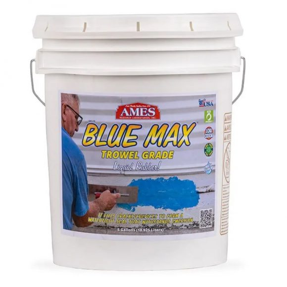 AMES Blue Max Liquid Rubber Waterproofing Foudation Under Tile Shower Deck Roof Basement Leak repair Conspec Tampa 5-Gal TROWEL Grade smaller img