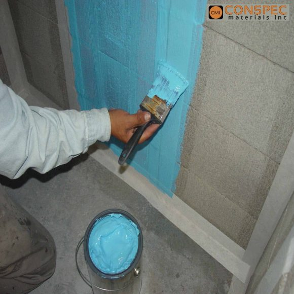 Blue Max Paint on Waterproofing Shower Pan Block Wall Below Grade Under Tile Application Conspec Tampa Florida