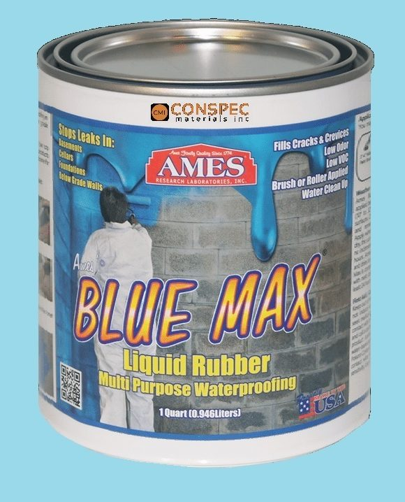 AMES Blue Max Liquid Rubber Waterproofing Foudation Under Tile Shower Deck Roof Basement Leak repair Conspec Tampa QUART