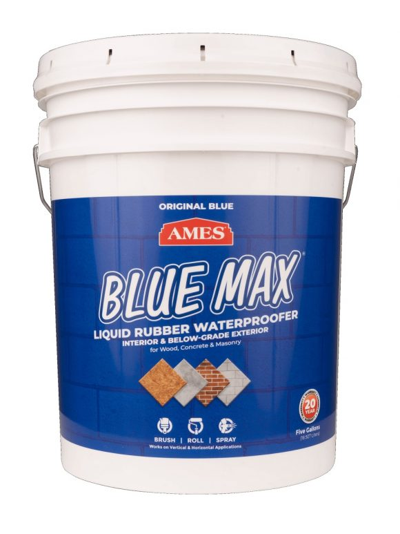 AMES Blue Max Liquid Rubber Waterproofing Foudation Under Tile Shower Deck Roof Basement Leak repair Conspec Tampa 5-Gal Roller Grade smaller img