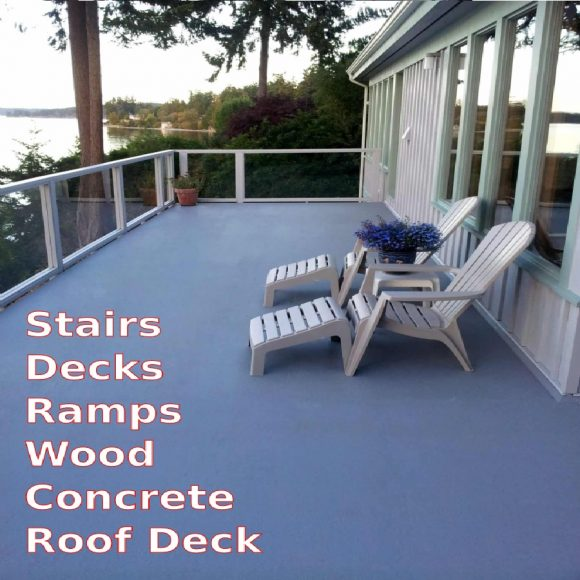 AMES Safe-T-Deck Deck Coating Safety Wood Deck Elastomeric Paint application gray